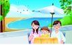 家庭和睦0053,家庭和睦,家庭,海岸渡假 遮阳伞 小海湾