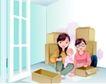 家庭和睦0055,家庭和睦,家庭,纸盒 婴儿 打开窗户