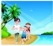 家庭和睦0057,家庭和睦,家庭,河边跑步 锻炼身体 椰树