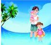 家庭和睦0058,家庭和睦,家庭,浅海浴场 游泳 玩耍