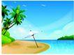 家庭和睦0059,家庭和睦,家庭,倾斜阳伞 海风吹拂 热带海岸