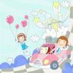 家庭学习0018,家庭学习,家庭,气球 驾车