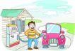 家庭旅游0017,家庭旅游,家庭,给车加油