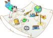 家庭旅游0027,家庭旅游,家庭,地图 地球仪