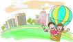 家庭旅游0049,家庭旅游,家庭,热气球 飘浮 城市上空