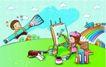 儿童卡通游玩0028,儿童卡通游玩,少年儿童,巨大画笔