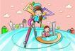 儿童卡通游玩0030,儿童卡通游玩,少年儿童,巨大圆规