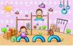 儿童卡通游玩0032,儿童卡通游玩,少年儿童,吊环 单杠 锻炼身体