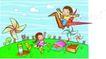 儿童卡通游玩0035,儿童卡通游玩,少年儿童,风车 纸鹤