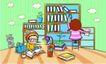 儿童卡通游玩0036,儿童卡通游玩,少年儿童,书架 爱看书的儿童