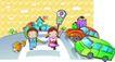 儿童卡通游玩0038,儿童卡通游玩,少年儿童,过马路 红绿灯