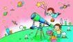 儿童卡通游玩0040,儿童卡通游玩,少年儿童,望远镜 观察天空