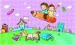儿童卡通游玩0044,儿童卡通游玩,少年儿童,巨大铅笔 飞翔