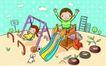 儿童卡通游玩0045,儿童卡通游玩,少年儿童,儿童乐园 滑梯 秋千