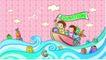 儿童卡通游玩0049,儿童卡通游玩,少年儿童,海上冲浪 划船 举旗