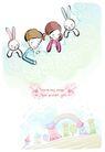 儿童情人节0028,儿童情人节,少年儿童,小白兔