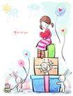 儿童情人节0033,儿童情人节,少年儿童,礼盒堆叠 小白兔