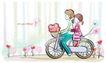 儿童情人节0036,儿童情人节,少年儿童,骑单车 出去郊游