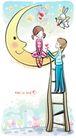 儿童情人节0037,儿童情人节,少年儿童,弯月 射箭的兔子