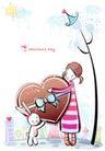 儿童情人节0039,儿童情人节,少年儿童,巨大的心 一起抱着