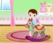 儿童游玩0030,儿童游玩,少年儿童,小木马