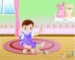 儿童游玩0034,儿童游玩,少年儿童,小可爱 玩积木 坐地上