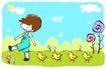 儿童游玩0043,儿童游玩,少年儿童,齐步走 一群小鸡
