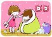 儿童游玩0044,儿童游玩,少年儿童,感冒了 被子包裹着