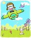儿童游玩0045,儿童游玩,少年儿童,白兔 小小飞行员