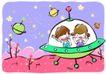 儿童游玩0047,儿童游玩,少年儿童,飞碟 科学幻想 不明飞行物