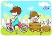 儿童游玩0048,儿童游玩,少年儿童,童车 拉箱 栅栏