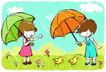儿童游玩0050,儿童游玩,少年儿童,下雨 打伞 小鸡