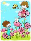儿童游玩0051,儿童游玩,少年儿童,花丛 蝴蝶 坐花冠