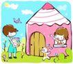 儿童游玩0054,儿童游玩,少年儿童,铅笔小屋 手端书本 爱学习