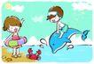 儿童游玩0055,儿童游玩,少年儿童,骑海豚 跳跃 海滨