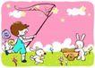 儿童游玩0056,儿童游玩,少年儿童,捕捉星星 小白兔 推车