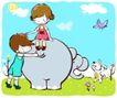 儿童游玩0057,儿童游玩,少年儿童,大象尾巴 骑象 孩子摸象