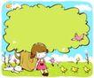 儿童游玩0058,儿童游玩,少年儿童,树底下 小姑娘 孤独一人