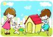 儿童游玩0059,儿童游玩,少年儿童,狗舍 小白狗 儿童乐趣