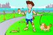 儿童运动0025,儿童运动,少年儿童,遛狗散心