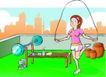 儿童运动0028,儿童运动,少年儿童,跳绳