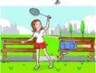 儿童运动0034,儿童运动,少年儿童,羽毛球爱好者 挥起球拍 接球