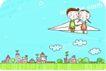 动画儿童0021,动画儿童,少年儿童,坐纸飞机