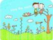 动画儿童0024,动画儿童,少年儿童,坐在枝桠上
