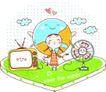 动画儿童0028,动画儿童,少年儿童,可爱电器