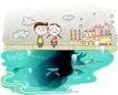 动画儿童0033,动画儿童,少年儿童,水面 坐在岸边