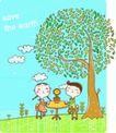 动画儿童0036,动画儿童,少年儿童,大树 小圆桌 一起聊天