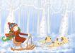 唯美插画0006,唯美插画,少年儿童,狗狗 雪橇 冬季
