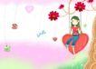 唯美插画0013,唯美插画,少年儿童,心形秋千 红花朵