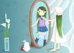 唯美插画0020,唯美插画,少年儿童,照镜子